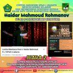 Siswa kelas 9 MTsN 4 juara 2 Dalam Lomba Baca Puisi Islami Sejabodetabek